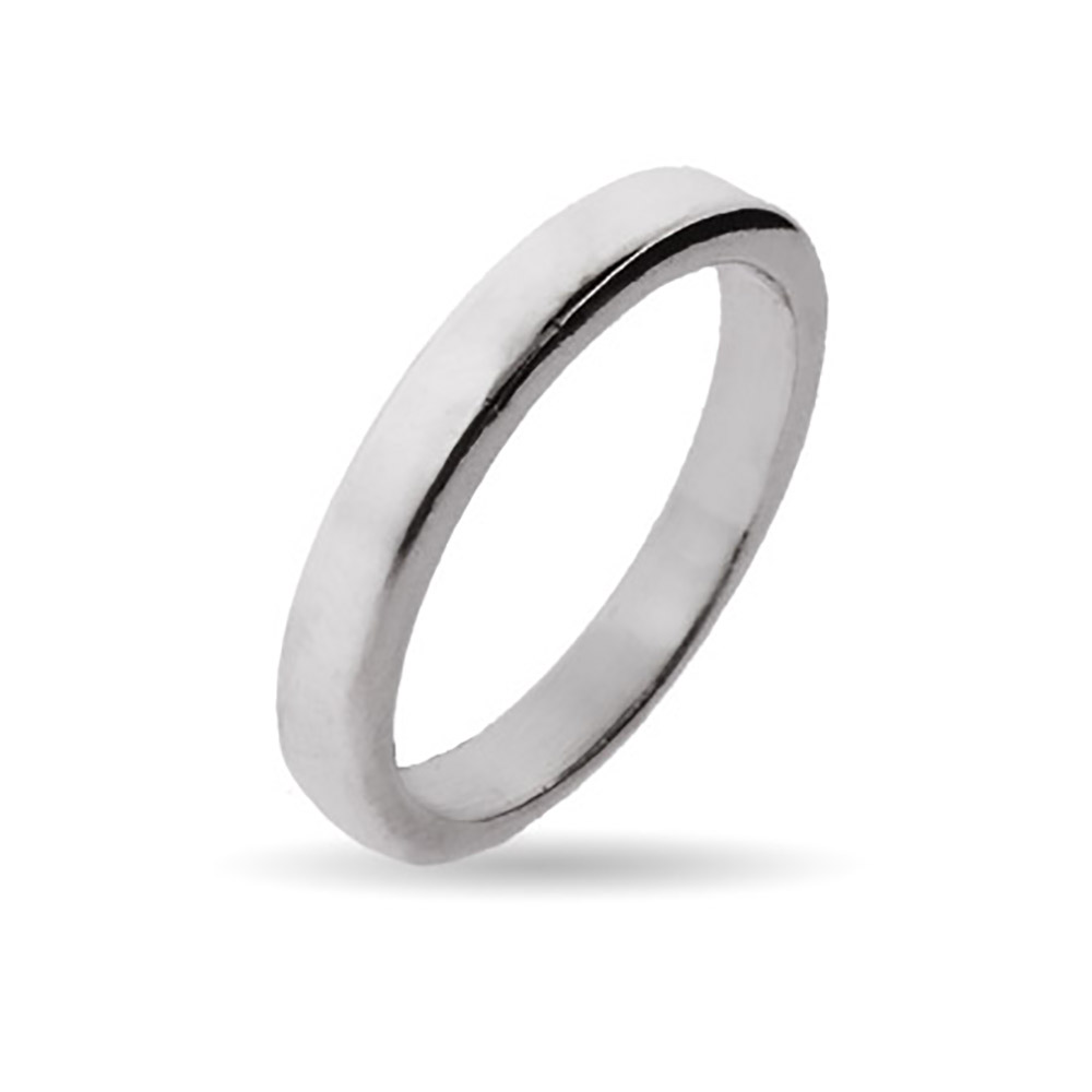 3mm Sterling Silver Flat Wedding Band This timeless sterling silver wedding band comes in a polished silver finish and measures 3mm wide. It is a beautiful sterling silver ring because of its simplicity, and suitable for not only a wedding band but for casual wear as well. Its completely flat surface adds a contemporary feel.    Details: • Made with .925 Sterling Silver • Featuring Lightweight 3mm Flat Band • Polished Silver Finish • Available in Sizes 5 to 12 • Simple and Timeless