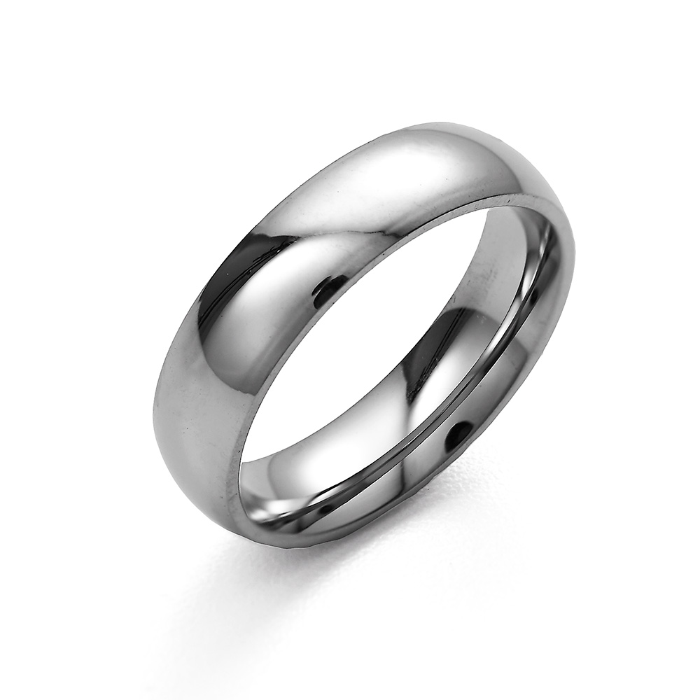 5mm Stainless Steel Wedding Band This 5mm Stainless Steel Engravable Wedding Band is a classic design that will never go out of style. With a high polish surface, this wedding band gleams in the light, making it a beautiful part of anyone's hand. Whether you're going to wear this as a wedding band, commitment ring, promise ring, or just because you like the sleek lines, you'll never regret adding this to your outfit! Two engraving options with this engraved stainless steel band allow you to really customize your ring. with sizes 5 to 12 this is a stainless steel ring for men and a stainless steel ring for women depending on the size you order. Many people also order rings online like this to wear as promise rings too.    Details: • 5 mm Engravable Stainless Steel Band • Wedding Band Design • Engravable • 5mm Wide Band