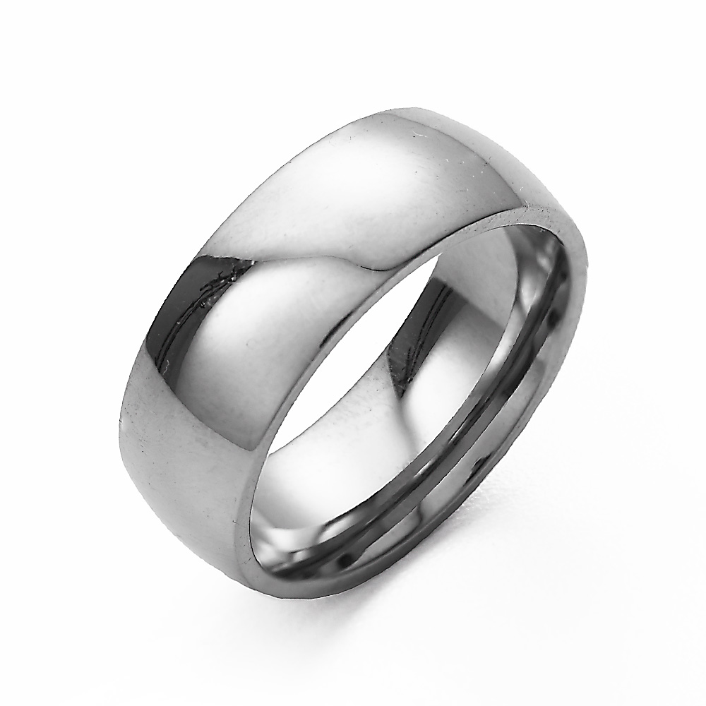 7mm Stainless Steel Wedding Band This 7mm Stainless Steel Engravable Wedding Band is a classic design that will never go out of style. With a high polish surface, this band gleams in the light, making it a beautiful part of anyone's hand. The curved inner surface adds a  comfort fit  feature, making this ring especially easy to wear. Whether you're going to wear this as a wedding band, commitment ring, promise ring, or just because you like the sleek lines, you'll never regret adding this to your outfit.  Details: • 7mm Wide Band • Stainless Steel • Two Engraving Options