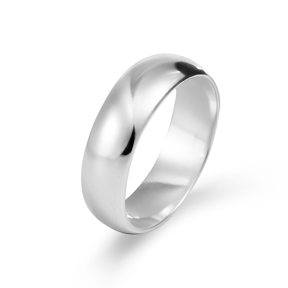 Classic 6mm Sterling Silver Wedding Band This classic 6mm silver wedding band features a traditional wedding band design with a slightly larger width. Beautifully meaningful, the personalized wedding band is made with .925 sterling silver for lasting style that can be worn for years. Wear this custom sterling silver band as is or customize it with an engraving on the outside or inside of the band. This engravable wedding band serves as a reminder of forever love and devotion. Your engravable wedding ring offers you the chance to truly make your special day that much more unique.     Details: • 6mm Engravable Silver Band • .925 Sterling Silver • Engravable • Sizes 4 to 13 • Gift Box Included