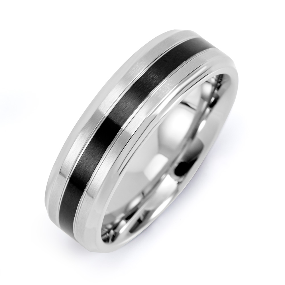 Mens Stainless Steel Band with Single Black Inlay This Stainless Steel Band for men with single black inlay is great for any man who enjoys a sleek and modern ring design. The men's engravable stainless steel ring is a little over 1/4 inch wide, with a black inlaid stripe 1/8 inch wide. The simple line design of this trendy men's black ring goes well with everything. Whether as a fashion statement, or a silver and black wedding band, this custom engraved men's ring is a great addition to any wardrobe. Create a custom ring for him today and allow him to carry a sweet memory of you with him wherever he goes.    Details: • Stainless Steel Black Inlay Band • Black Inlay Stripe • Stainless Steel Material • Engravable Inside