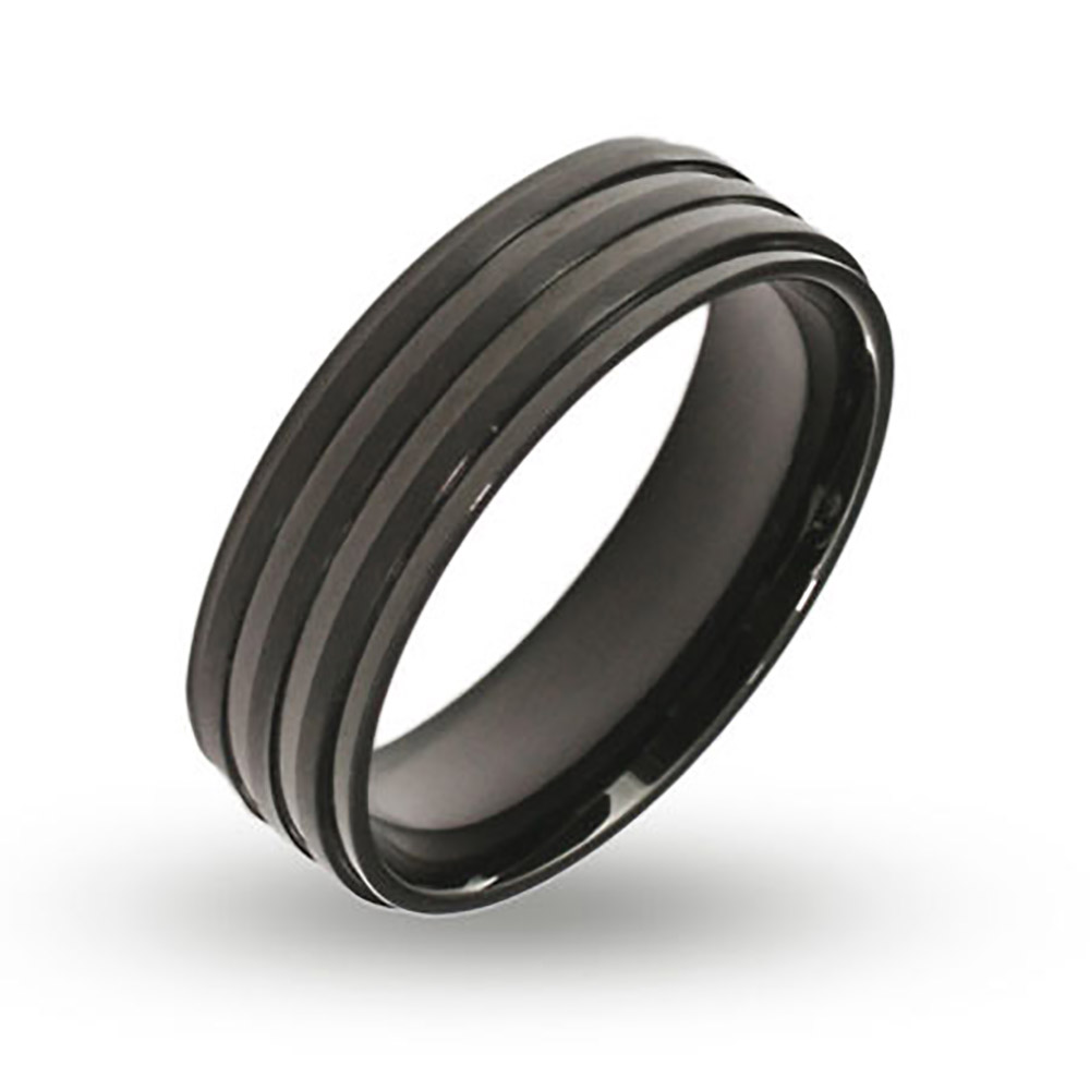 Mens Ribbed Black Plate Band