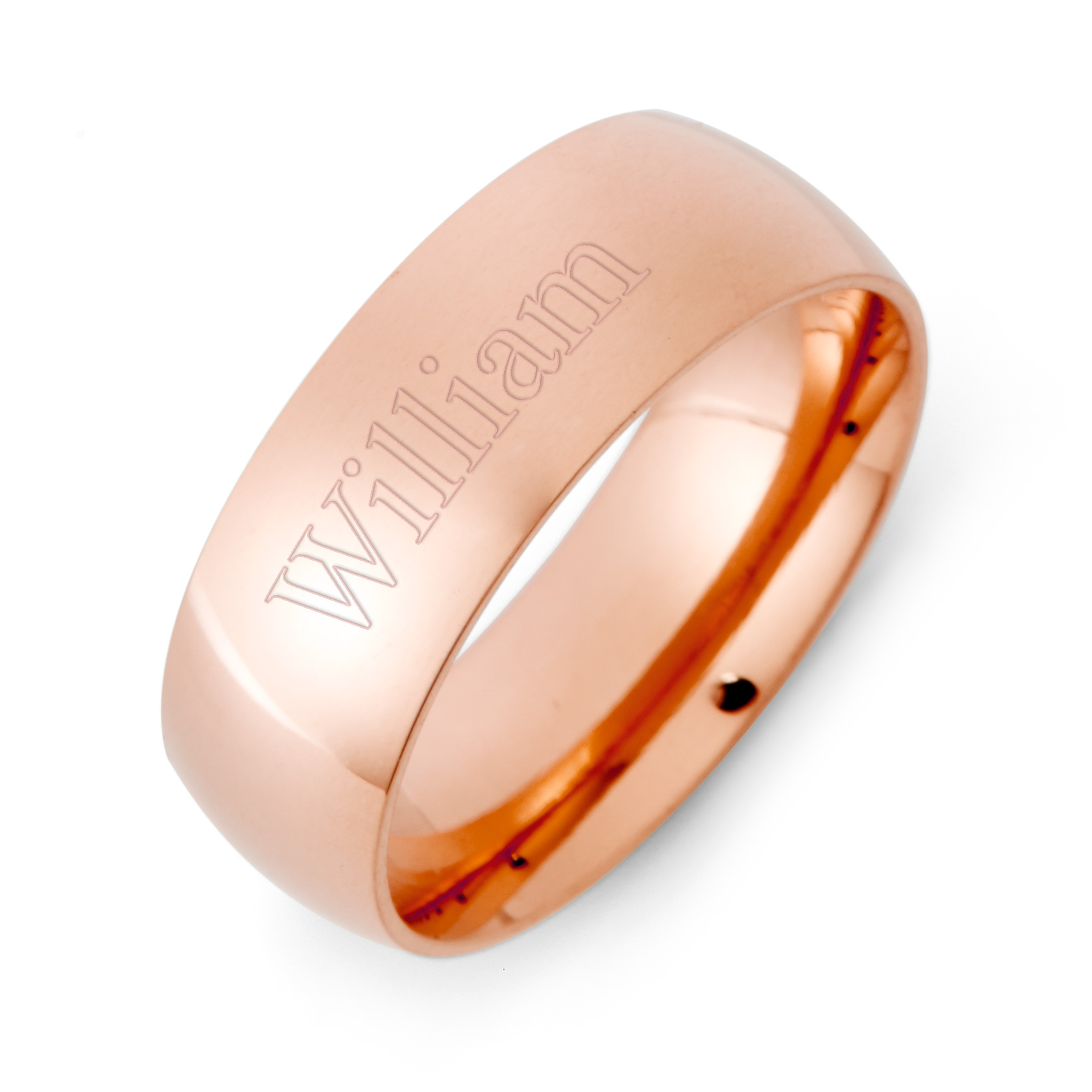 7mm Rose Gold Stainless Steel Wedding Band This 7mm Rose Gold Wedding Band is a classic design that will never go out of style with a unique color twist. With a high polish surface, this band gleams in the light, making it a beautiful part of anyone's hand. The curved inner surface adds a  comfort fit  feature, making this ring expecially easy to wear. Add an engraving on the inside and outside to this 7mm comfort fit rose gold wedding ring, for a personalized touch.   Details: • 7mm Comfort Band • Rose Gold Plated Stainless Steel • Two Engraving Option