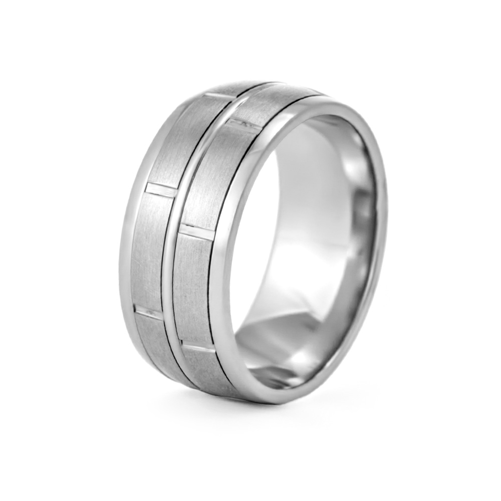 Men's Modern Style Engravable Wedding Band The Men's Modern Style Engravable Wedding Band features a unique double spinner design with a mixed brushed and polished texture. The 9mm wide stainless steel band can be engraved on the inside with a name, date or special message of love for the big day. Available in sizes 9 to 13, this spinner ring offers the perfect style for the modern day groom.  Details: • 9mm Wide • Contemporary Mixed Matte & Polished Finish Texture • Custom Engraving Available • Whole Sizes 9 - 13 • Gift Box Included