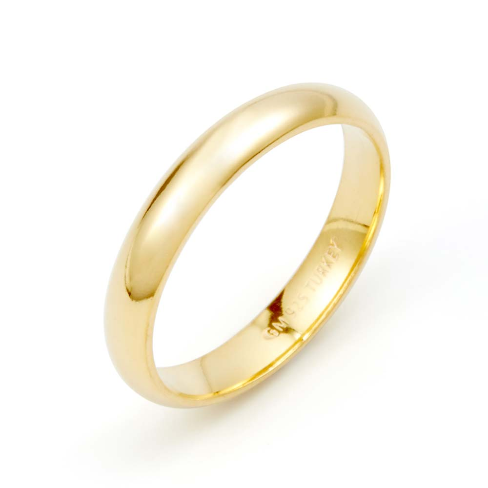 Classic 3mm Gold Plated Wedding Band This Classic 3mm Gold Plated Wedding Band is perfect to wear to celebrate the love in your life. This gold band can be worn alone as a simple statement ring, stackable ring, or with an engagement ring as a set. This custom engraved gold ring is slightly curved for a very comfortable fit for everyday wear, no matter where you go or what's on the agenda. This custom engraved wedding ring is continuously the same width all the way around measuring at 3mm wide. Make this 3mm wedding band even more significant by engraving your wedding date or something personal inside it. If you're in a newly budding romance, you can also use this golden design as commitment rings and custom promise rings for yourself and your sweetheart. Let them know the depth of your love with a promise of the sweetness kind.    Details: • Custom Engraved Wedding Band • Gold Plated • 3mm Band • 925 Sterling Silver