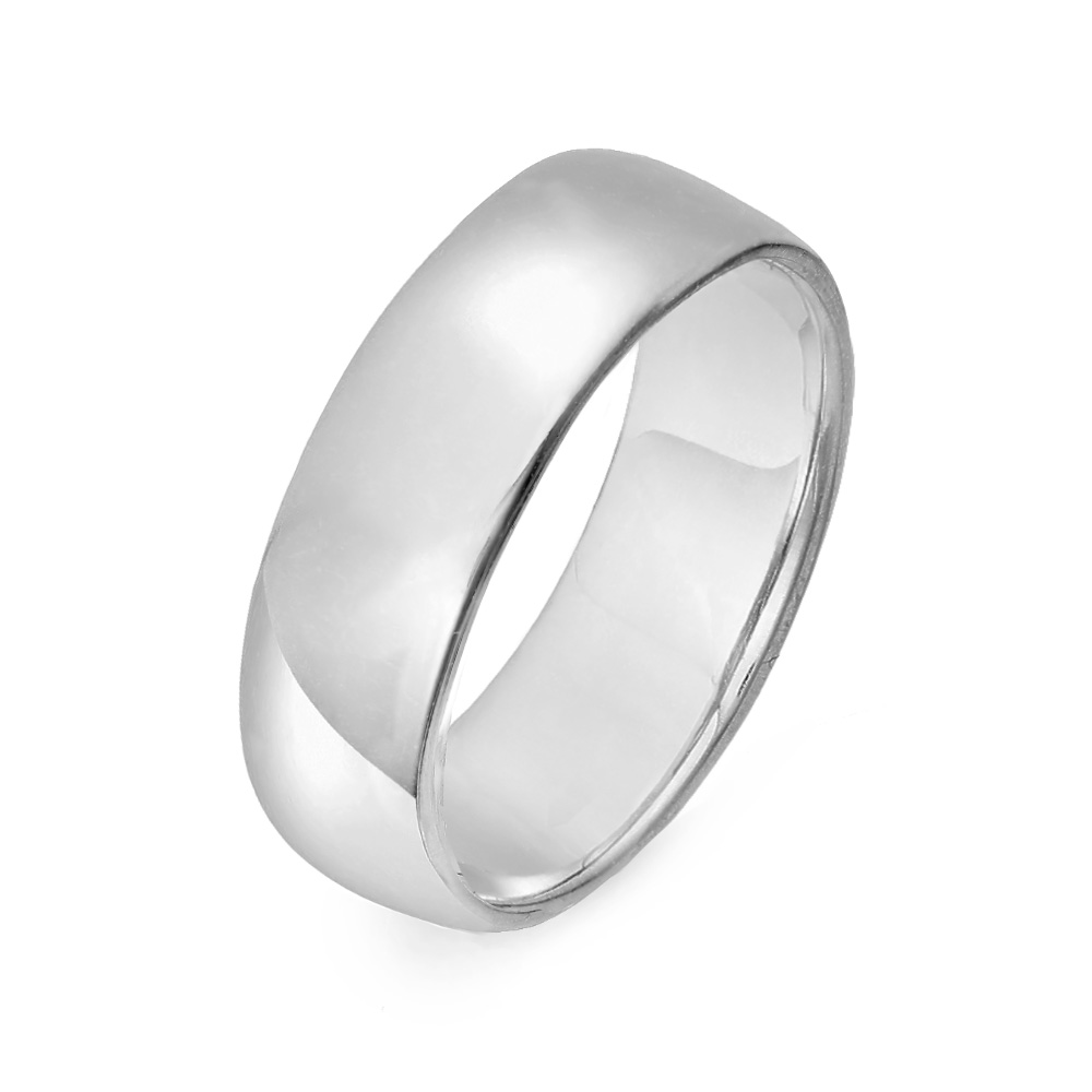 14K White Gold 6mm Classic Wedding Band Say I love you till the end of time with our 14K White Gold 6mm Classic Wedding Band. This white gold wedding ring band is suitable for all day wear with a slightly curved comfortable band.This band measures at 6mm wide continuously around the band. Stand at the alter with the love of your life as you give each other these bands of forever and always