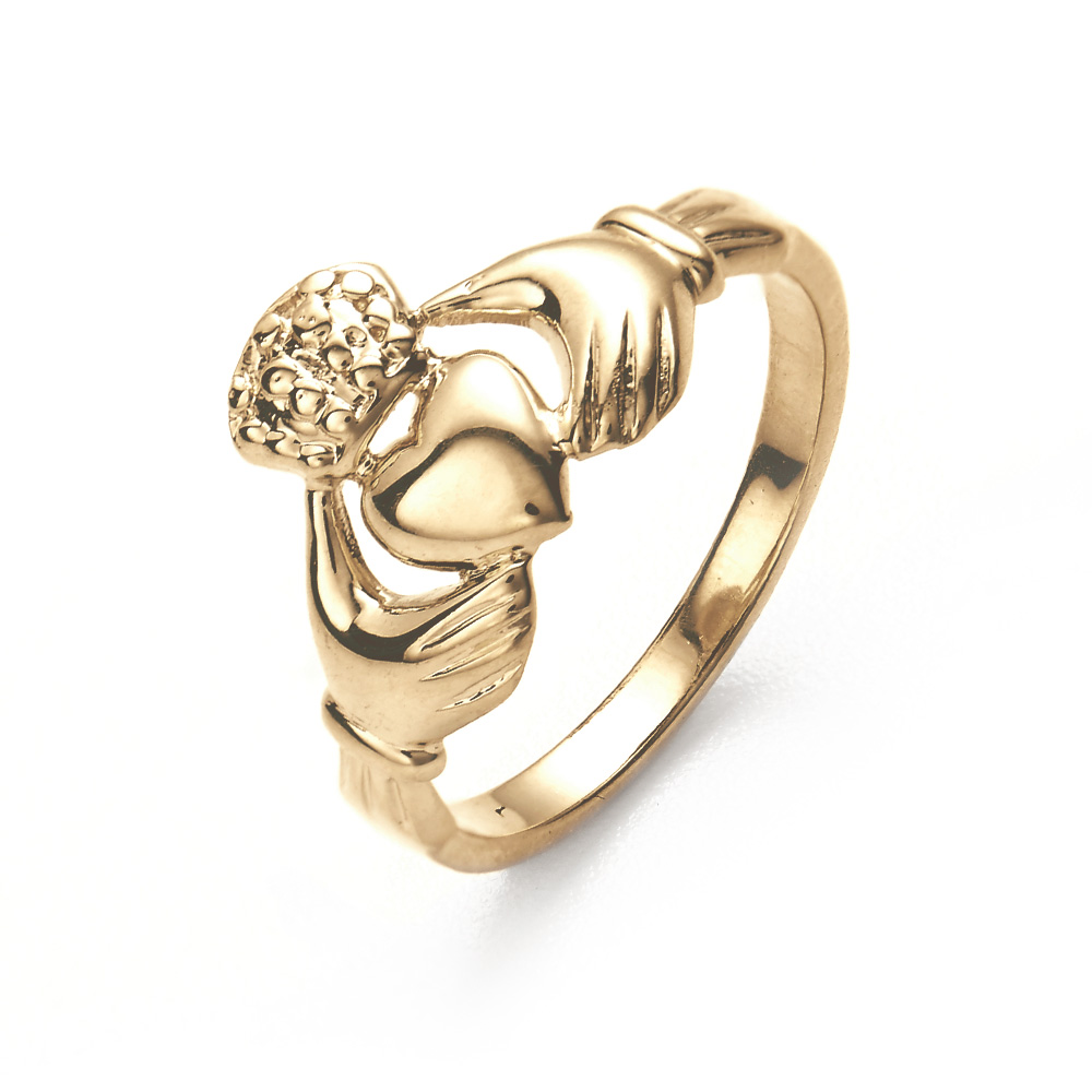 14K Gold Claddagh Wedding Ring Commemorate your commitment with this 14K Gold Claddagh Wedding Ring, a beautiful Irish symbol of love, loyalty and friendship. This stunning wedding ring is made from solid 14K gold and features the traditional Irish Claddagh design. Traditionally, a claddagh ring worn on the left hand, facing away from the body generally indicates that the wearer is engaged. When the ring is worn on the left hand ring finger and facing inward toward the body, this symbolized that the wearer is married. The widest part of the design from the top of the crown to the bottom of the heart is 1/2 inch and sits centered on a 2mm band. Available in sizes 5 through 12, this claddagh ring is the perfect way to celebrate your love.   Details: • Gold Claddagh Design • Solid 14K Gold • Available in sizes 5í12