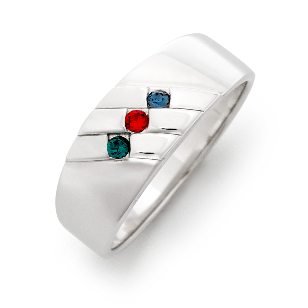 3 Stone Men's Family Birthstone Sterling Silver Ring thumbnail