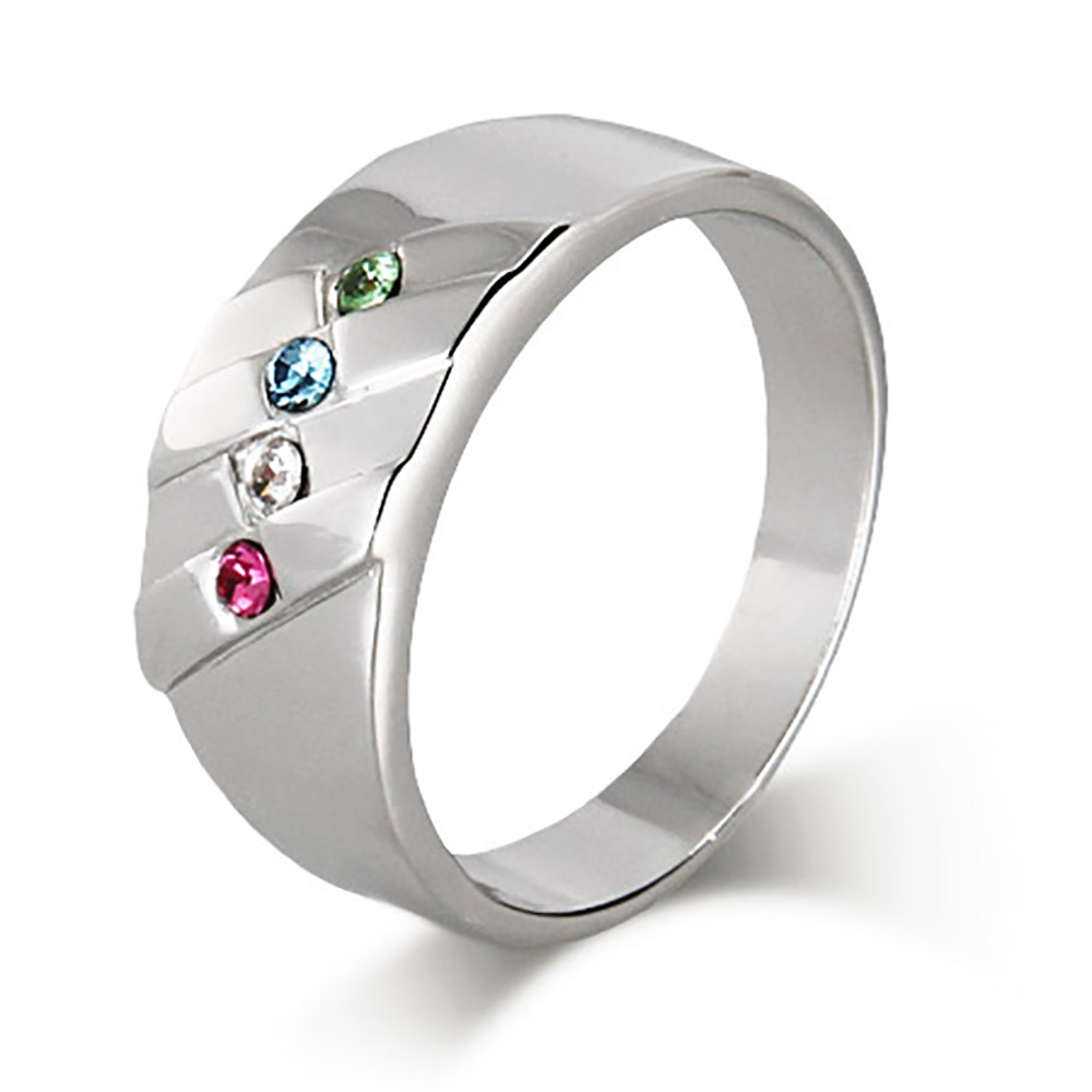 4 Stone Men's Family Birthstone Sterling Silver Ring thumbnail