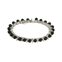 Sterling Silver Waves of Black Pearls Bracelet