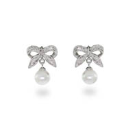 Gaby's Sterling Silver Bow Earrings with Pearl Drop