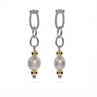 Designer Inspired Freshwater Pearl Cable Link Earrings