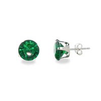 Sterling Silver 8mm Emerald Cubic Zirconia Stud Earrings