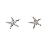Tiffany Inspired Sterling Silver CZ Starfish Studs