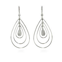 Triple Teardrop Silver Earrings with Pave Teardrop Center