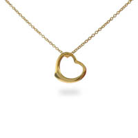 Sterling Silver Gold Vermeil Heart Necklace