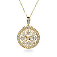 Intricate Victorian Design CZ Gold Vermeil Necklace