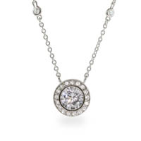 Kate wore a necklace like the Bezel Set Pave CZ's By The Yard Necklace with her iconic blue dress. It's the elegant yet simple touch Kate Middleton is known for.
