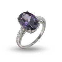 Julie's Sterling Silver Amethyst and Diamond CZ Cocktail Ring