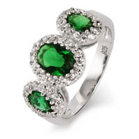 3 Stone Oval Cut Emerald Green CZ Ring