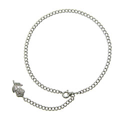 Sterling Silver Anklet with Pave Flower Charm