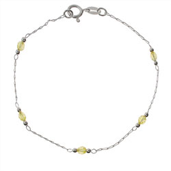 Lemon Yellow Beaded Sterling Silver Anklet