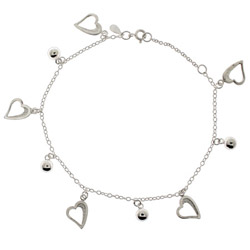 Sterling Silver Hearts and Beads Charm Anklet