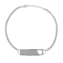 Engravable Heart ID Sterling Silver Anklet