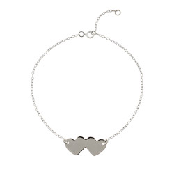 Sterling Silver Engravable Joined Hearts Anklet