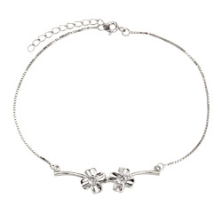Sterling Silver Double Flower Anklet
