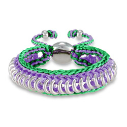 Purple and Green Braided Engravable Friendship Bracelet