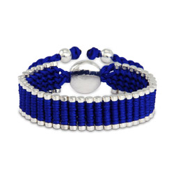 Designer Inspired Royal Blue Linked Engravable Friendship Bracelet