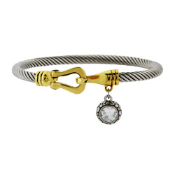 Designer Inspired Cable Bangle Bracelet with CZ Charm