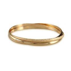 Golden Shimmer Triple Bangle Bracelet