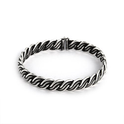 Oxidized Braided Bali Bangle with Hook Clasp