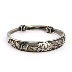 Beautiful Butterfly and Lotus Bali Bangle Bracelet