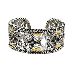 Designer Inspired Braided Edge Vintage Heart Cuff Bracelet