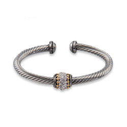 Designer Inspired Cable Cuff Bracelet with Pave CZ Detail