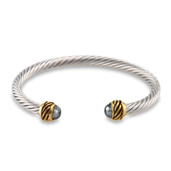 Designer Inspired Gray Pearl Thin Cable Cuff Bracelet