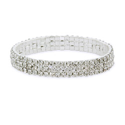 Sparkling Three Row Crystal Tennis Bracelet