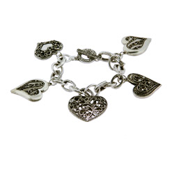 Antique Heart CZ Charm Bracelet