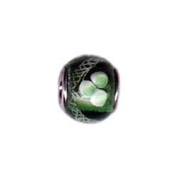 White & Green Flower Glass Oriana Bead - Pandora Bead & Bracelet Compatible