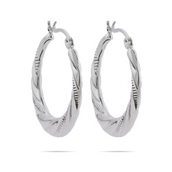 Ellie's 1 Inch Textured Twist Round Hoop Earrings