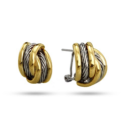 Designer Inspired Two Tone Cable Design Leverback Earrings