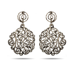 Vintage Scroll Design Drop Earrings