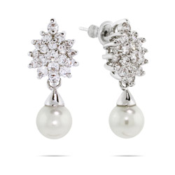 Clustering CZ's with Pearl Drop Earrings