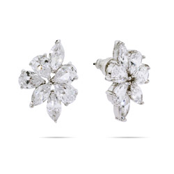 Emma's Dazzling Teardrop Cut CZ Stud Earrings