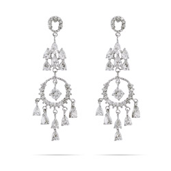Sophia's Elegant Circle and Teardrop Chandelier Earrings