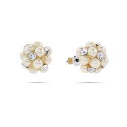 Cluster of Pearl and CZs Stud Earrings