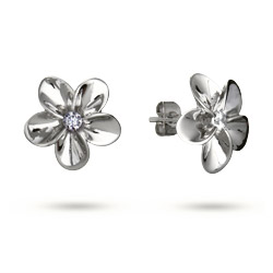 Beautiful Plumeria CZ Stud Earrings